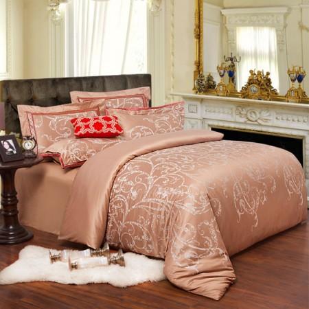 梦洁 流光溢彩尊享色织提花床品八件套 金色