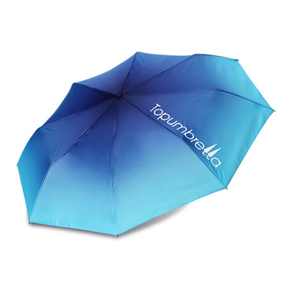 topumbrella三折晴雨伞糖果渐变深浅蓝色