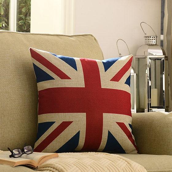 奇居良品美式棉麻靠垫2件套英国国旗含芯高清图片-惠