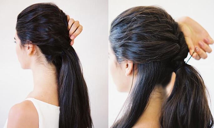 用蜈蚣辫编发一路下来直至发尾,留出一束头发后将其他头发绑成马尾图片